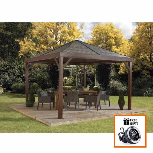 Sojag South Beach Gazebo Wood Finish 12'x12' with galvanized steel roof and textilene mosquito net:Tuff Nest