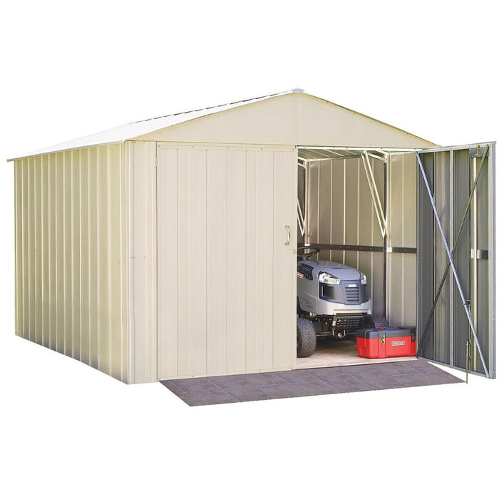 "Commander, Hot Dipped Galvanized Steel, Eggshell, High Gable, 71.3"" Wall Height, Extra Wide Swing Doors:Tuff Nest"