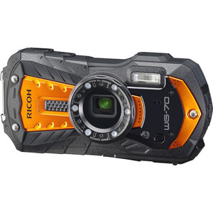 "Ricoh WG-70 Waterproof 16MP Digital Camera, 2.7"" LCD with Optio Floating Wrist Strap and Chest Harness (Orange)"