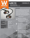 Westone UM Pro 10 Single-Driver Universal-Fit In-Ear Musicians' Monitors with Removable MMCX Audio Cable