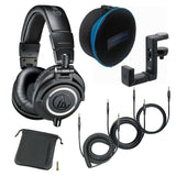 Audio-Technica ATH-M50x Monitor Headphones - Black (with Soft Case and Hanger)