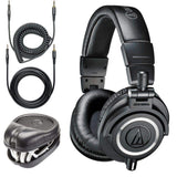 Audio-Technica ATH-M50x Sound-Isolating Monitor Headphones (Black) with SL-HP-07 Headphone Case - The Camera Box