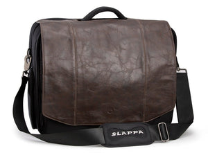 SLAPPA KIKEN Brown Leather Checkpoint Friendly 18 inch Laptop Bag, Tons of Storage Ultimate Protection