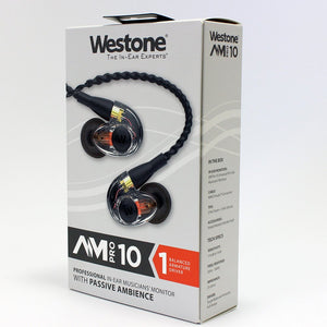 Westone AM Pro 10 Single-Driver Universal Ambient-Port In-Ear Monitors (Clear/Black)