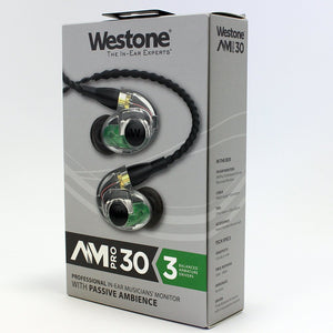 Westone AM Pro 30 Triple-Driver Universal Ambient-Port In-Ear Monitors (Clear/Black)