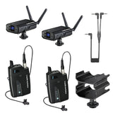 Audio-Technica System 10 Digital Wireless Camera Mount Dual Microphone System with Dual Mount Camera Shoe (2x Lavalier Mics)