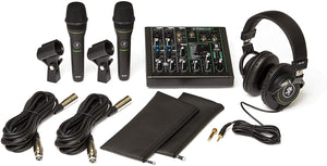 Mackie Performer Bundle with ProFX6v3 USB 6 Channel mixer, 2 EM-89D dynamic microphones and MC-100 headphones