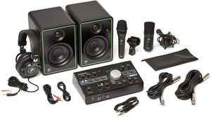 "Mackie Studio Bundle 3"" Monitors, Monitor Controller, Headphones, and Two Microphones"