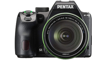 Pentax K-70 DSLR Camera with 18-135mm Lens (Black) with Pentax AF360FGZ II Flash