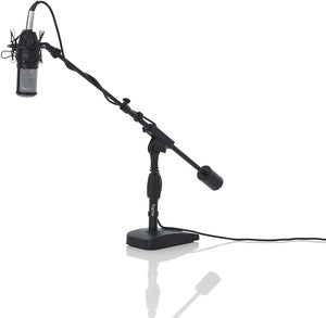 Gator Frameworks Short Weighted Base Microphone Stand with Telescopic Boom Arm and 2.5 Lbs Counter Weight (GFW-MIC-0822)