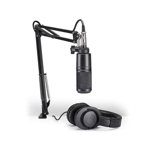 Audio-Technica/Mackie Professional Home Studio Starter Kit - AT2020 Microphone, M20x Monitor Headphones with Mackie CR3 Moniter Speakers and Mackie Onyx Artist Interface
