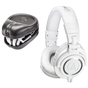 Audio-Technica ATH-M50x Sound-Isolating Monitor Headphones (White) with SL-HP-07 Full Sized HardBody PRO Headphone Case - The Camera Box