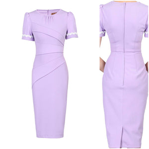 Lilac bodycon dress with trimming
