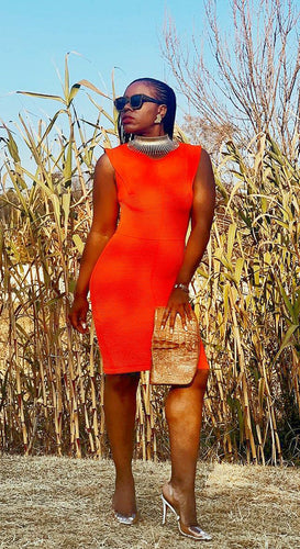 Chic textured orange bodycon dress
