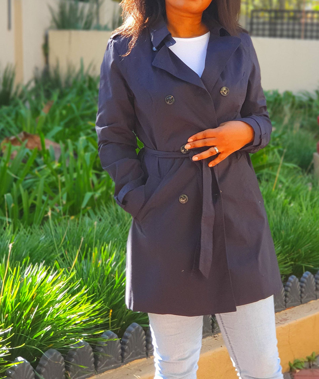 Navy blue trench coat
