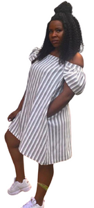 Classic off-shoulder summer striped dress