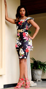 Black and red floral bodycon