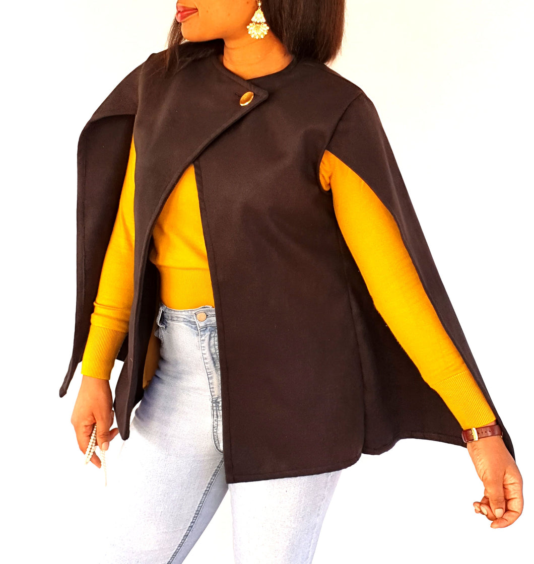 Black bat-wing jacket with gold button