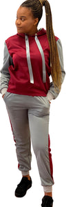 Grey and maroon tracksuit