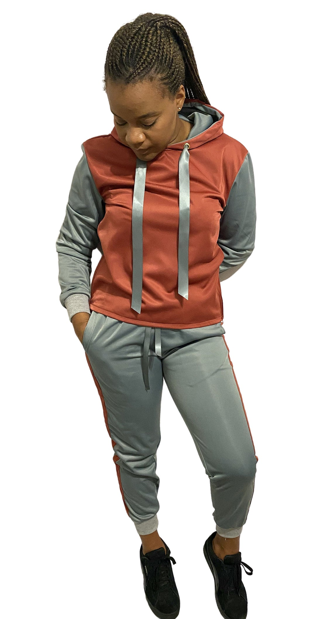 Grey and rust orange tracksuit