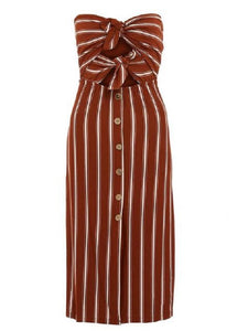 Rust and cream striped dress
