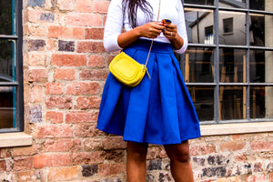 Royal blue pleated skirt