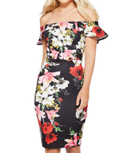 Load image into Gallery viewer, Black and red floral bodycon