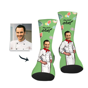 Custom Sock Best Chef Man - Make Face Socks