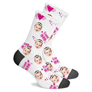 Custom Sock I Love Mom - Make Face Socks