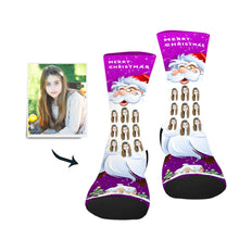 Load image into Gallery viewer, Santa's Long Beard Custom Socks - Make Face Socks