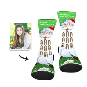 Santa's Long Beard Custom Socks - Make Face Socks