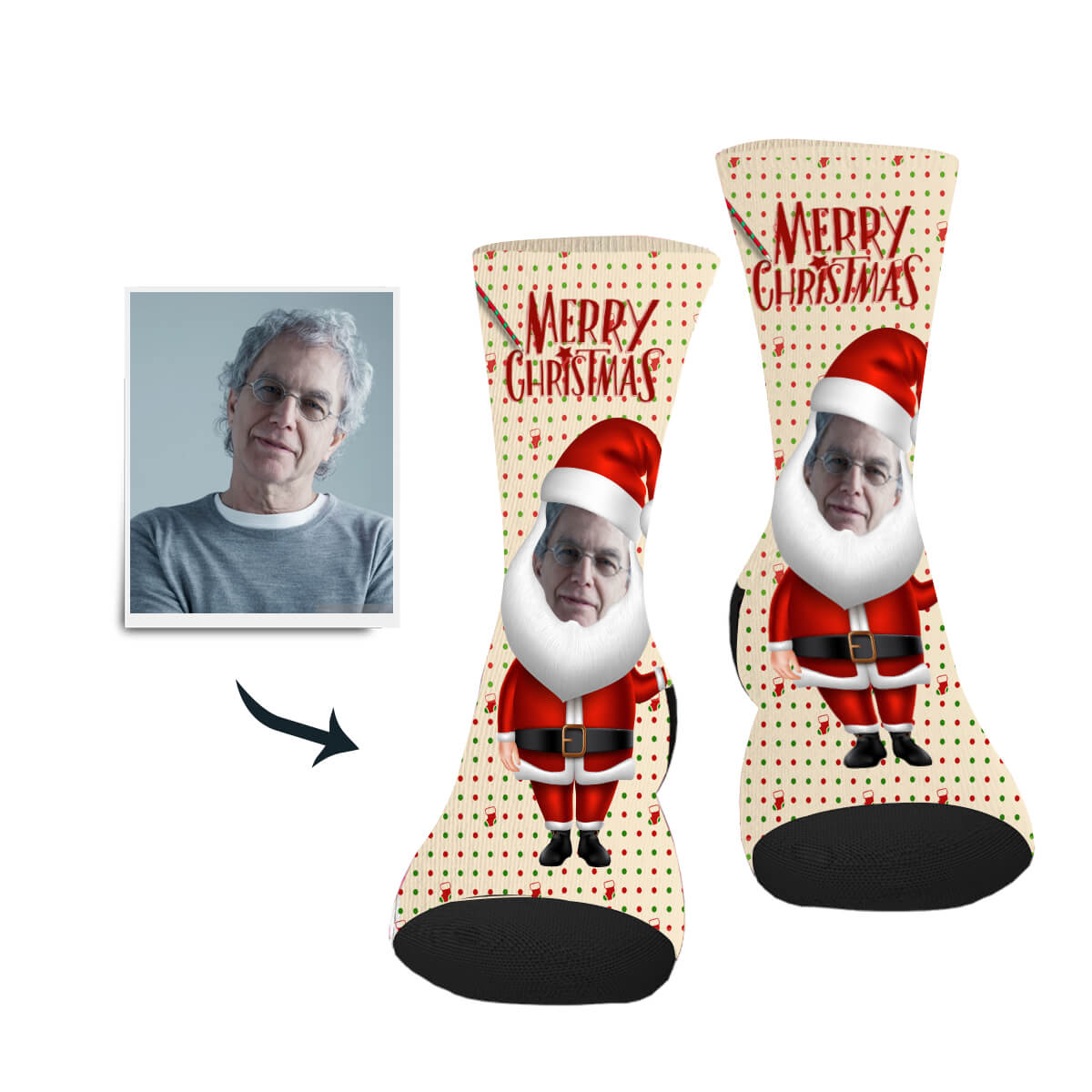 Santa's Big Beard Custom Socks - Make Face Socks