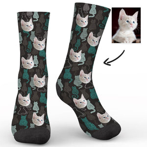 Line Drawing Cat Custom Socks - Make Face Socks