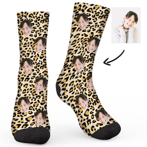 Leopard Print Custom Socks - Make Face Socks
