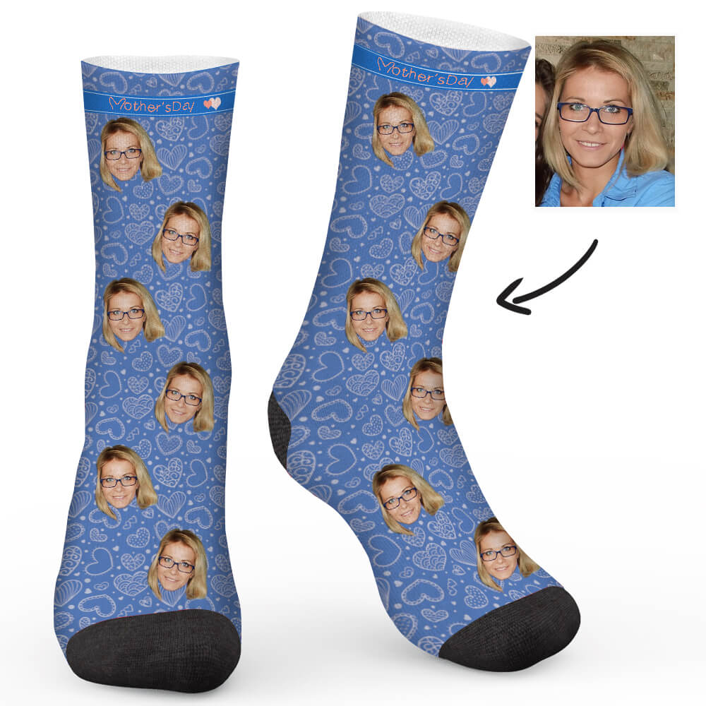 Mother's day love Custom Socks - Make Face Socks