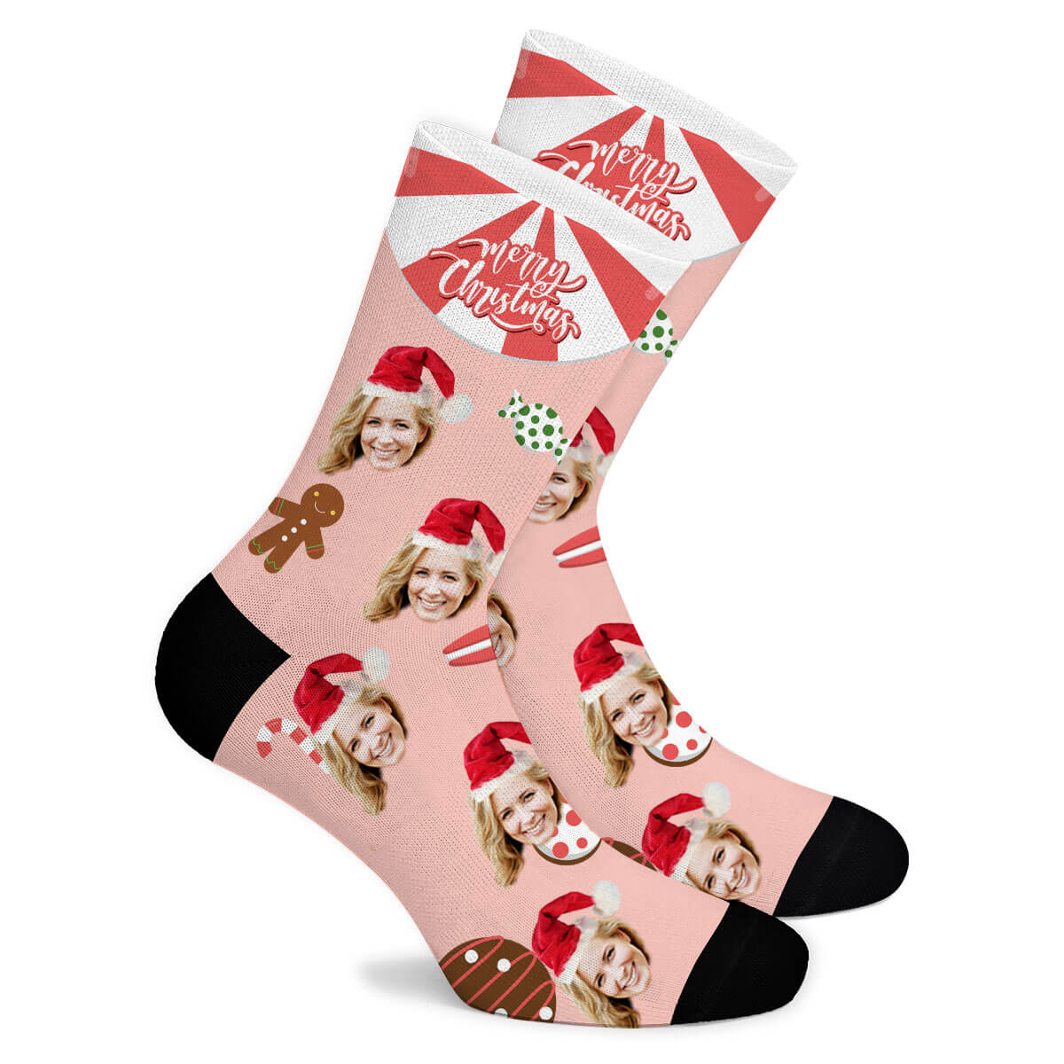 Christmas Candy Custom Socks - Make Face Socks