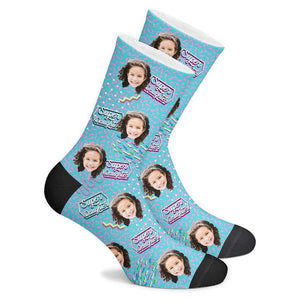 Custom Sock Super Daughter - Make Face Socks