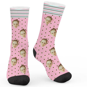 Retro Polka Dot Custom Socks - Make Face Socks