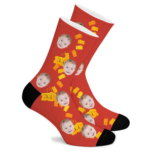 Happy Cheese Custom Socks - Make Face Socks