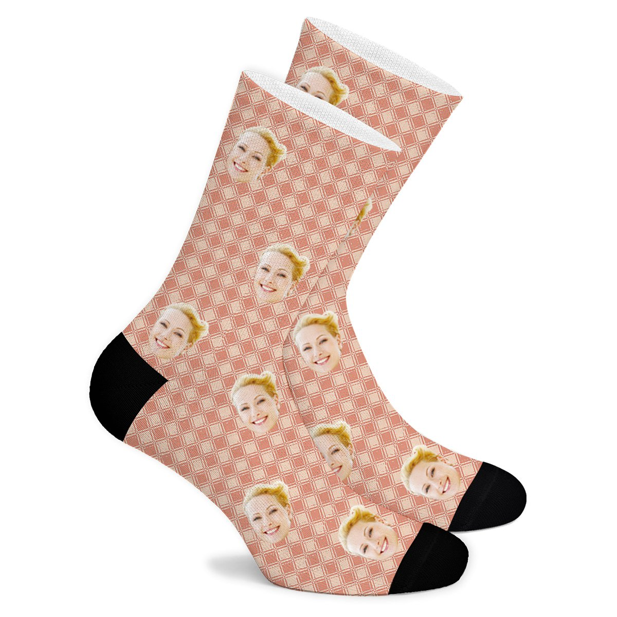 Square Pattern Custom Socks - Make Face Socks