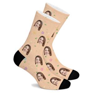 Floral Elements Custom Socks - Make Face Socks
