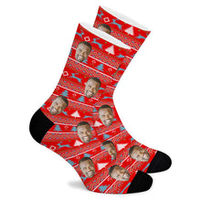Load image into Gallery viewer, Christmas Tree Striped Custom Socks - Make Face Socks