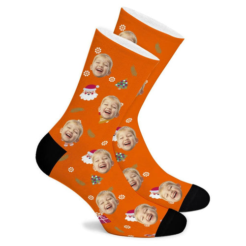 Santa Claus And Christmas Tree Custom Socks - Make Face Socks