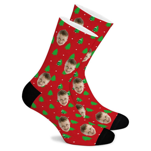Christmas Tree Custom Socks - Make Face Socks