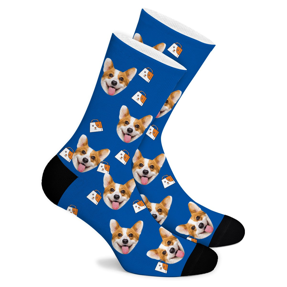 Cartoon Shopping Bag Custom Socks - Make Face Socks
