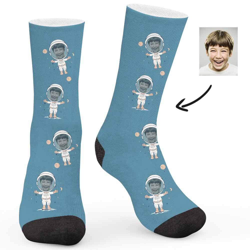 Happy Astronaut Custom Socks - Make Face Socks