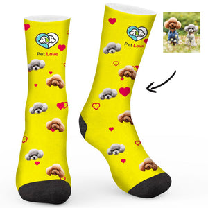 Pet Love Theme Dog Custom Socks - Make Face Socks