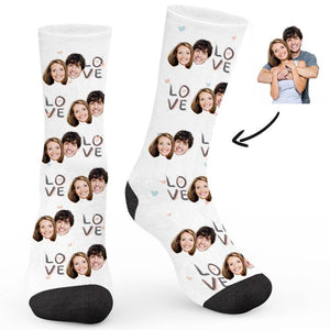 I Love You Theme Custom Socks - Make Face Socks