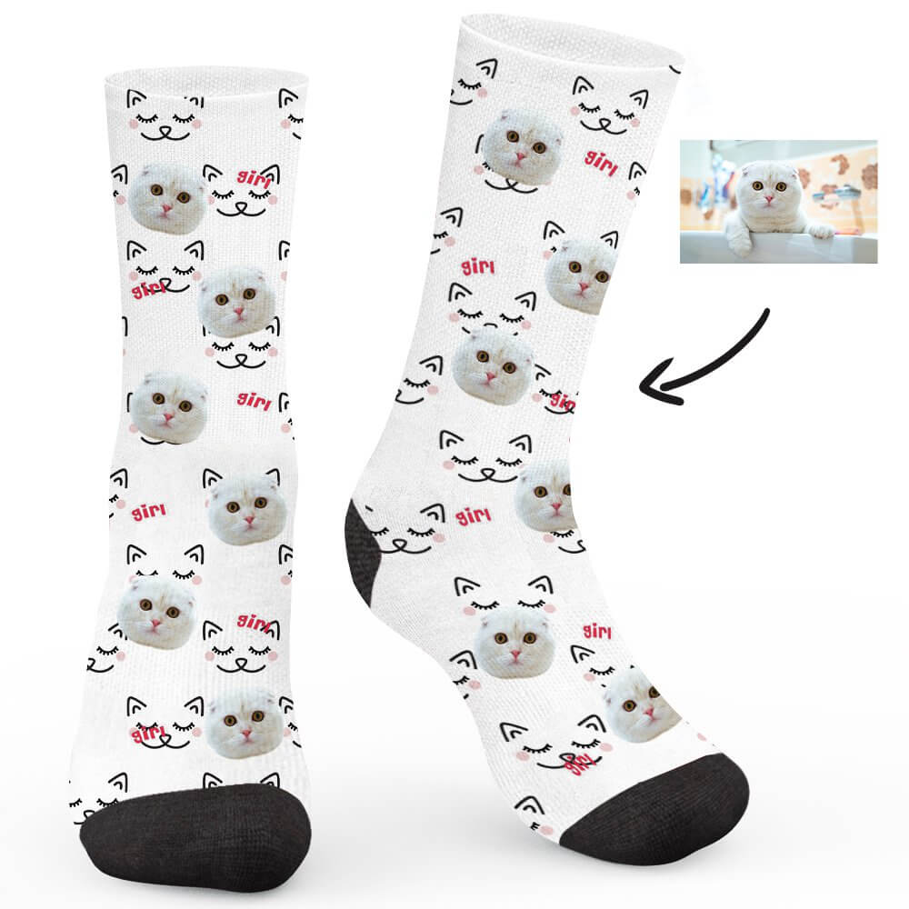 Cat Sister Custom Socks - Make Face Socks