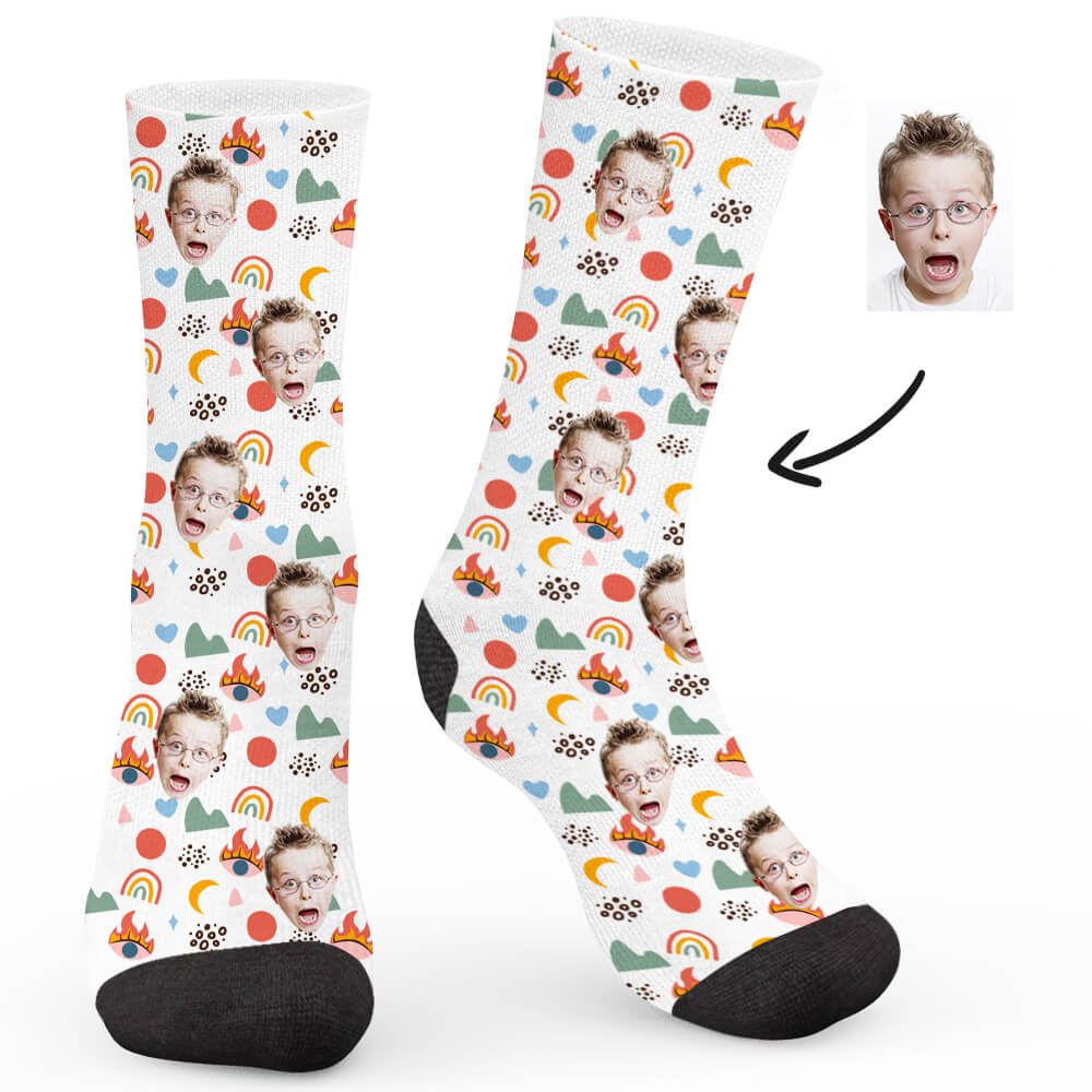 Funny Little Pattern Custom Socks - Make Face Socks